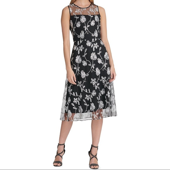 NWT DKNY Floral Overlay Fit-&-Flare Dress Black